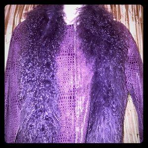 Women's Vintage Lavender Jacket w/ Faux Fur (L)